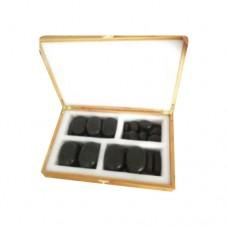 Набор массажных камней из базальта в коробке из бамбука 36 шт. НК-1Б
