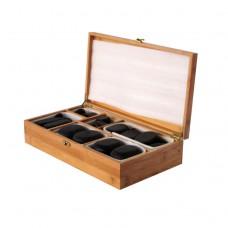 Набор массажных камней из базальта в коробке из бамбука 45 шт. НК-2Б