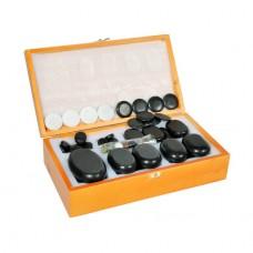 Набор массажных камней из базальта в коробке из бамбука 60 шт. НК-3Б