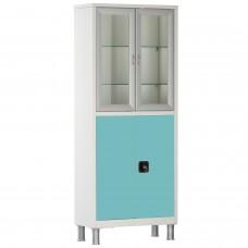 Шкаф металлический с двумя створками и ригельным замком МСК-648.12 (цветные дверки)