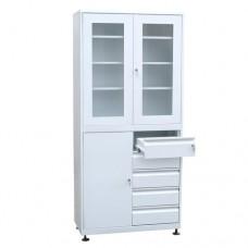 Шкаф металлический с двумя створками для медикаментов с 5 ящиками