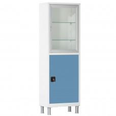 Шкаф металлический с одной створкой и ригельным замком МСК-645.12 цветные дверки