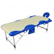 Стол массажный складной 2-х секционный JFAL01A (МСТ-002Л) бежевый с синей волной