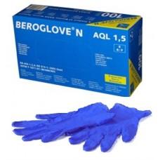 Перчатки нитрил, текстура на пальцах, PF, нестерил, голубые (№100) Beroglove